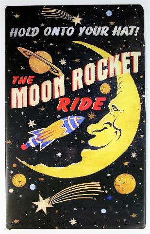 Moon Rocket Ride Tin Metal Sign Outer Space Amusement Park Roller Coaster B39