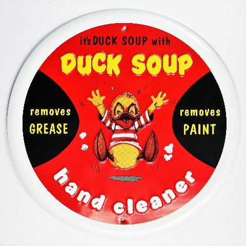 Duck Soup Hand Cleaner Tin Metal Sign Classic Man Cave Garage Vintage Style F79