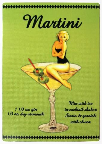 Martini  Mix Drink Tin Metal Sign Bar Garage Pin Up Girl Man Cave Alcohol B107