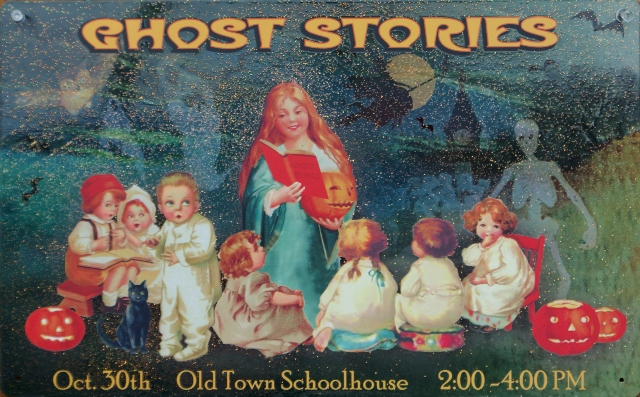 Ghost Stories Old Town School House Tin Metal Sign Halloween Vintage Style B32