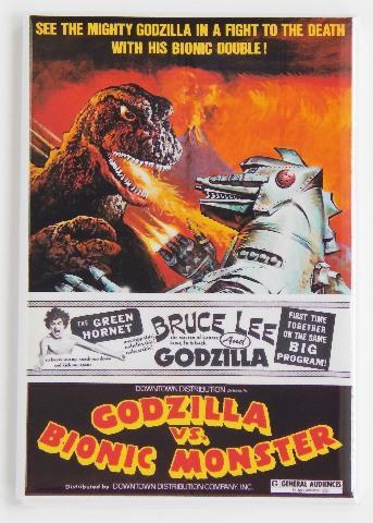 Godzilla vs Bionic Monster Bruce Lee movie poster FRIDGE MAGNET o1