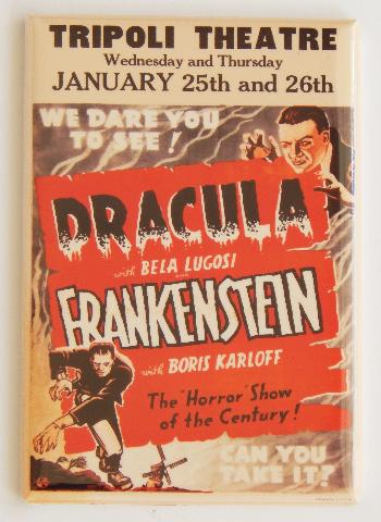 Tripoli Theatre Dracula Frankenstein movie poster FRIDGE MAGNET Horror show M5