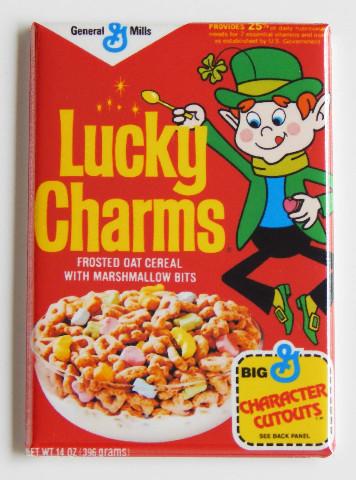 Lucky Charms cereal box FRIDGE MAGNETretro Leprechaun shamrock 4 leaf clover G2