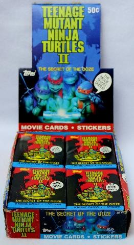 Vintage Topps TMNT Teenage Mutant Ninja 2 Turtles Wax Pack Trading Cards 3 Packs