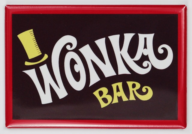 Wonka Bar FRIDGE MAGNET Willy Wonka chocolate bar candy store scene wrapper
