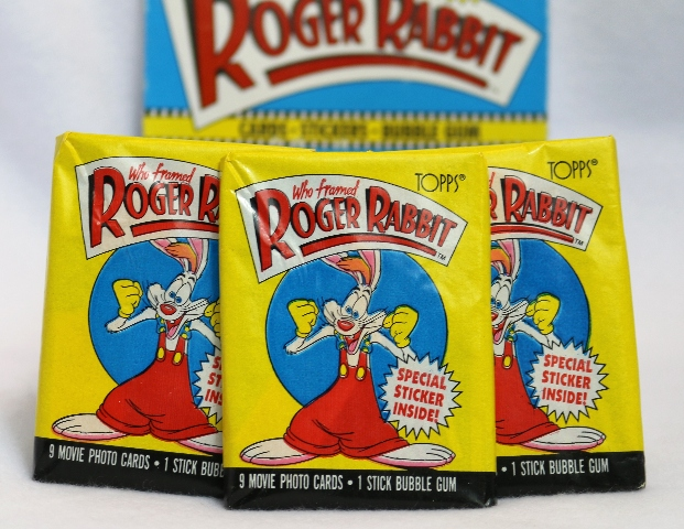3 Packs of Vintage Topps Who Framed Roger Rabbit Wax Pack Trading Cards