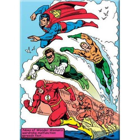 DC Comics Wonder Woman Wardrobe Malfunction FRIDGE MAGNET  Flash Green Lantern Superman Aquaman