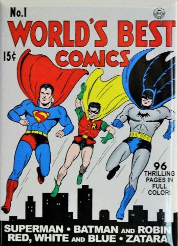 The World's Best Comics No.1 Fridge Magnet DC Comics Superman Batman Robin Zatar P16