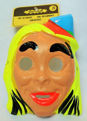Vintage Church Lady Halloween Mask Derby Hat Blond Woman 1960s 60's