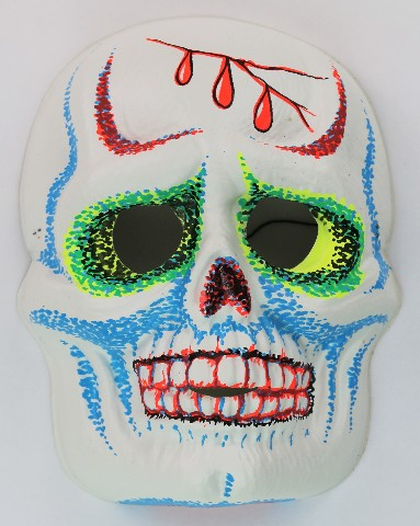 vintage sugar skull halloween mask zest 1960s 60s skeleton day of the dead bla