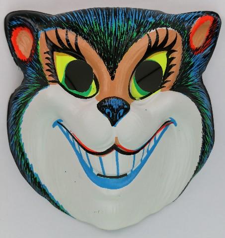 Vintage Smiling Cat Halloween Mask Zest 1960's 60's Black Light Reactive
