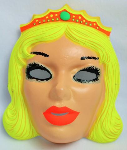 Vintage Beauty Queen Halloween Mask Princess Zest 1960's 60's Black Light Reactive Tiara