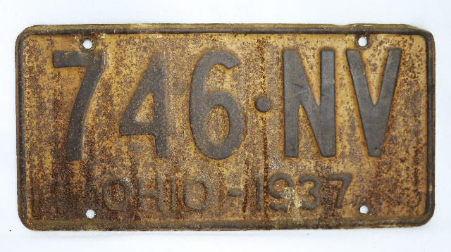 Vintage 1937 License Plate Ohio State Hot Rod Muscle Car Historical Garage 37