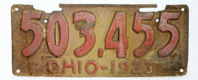 Vintage 1923 License Plate Ohio State Hot Rod Muscle Car Historical Garage 23