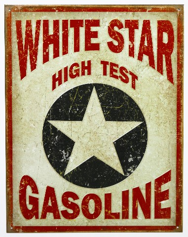 White Star High Test Gasoline Tin Metal Sign Texaco Oil Gas Hot Rod B9