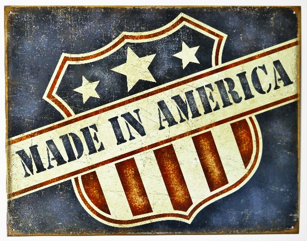 Made In America Tin Metal Sign Small Business USA United States American Flag F63