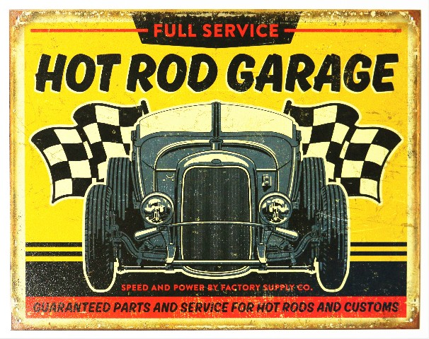 Full Service Hot Rod Garage Tin Metal Sign Rat Rod Race Car Mechanic Car Show B97