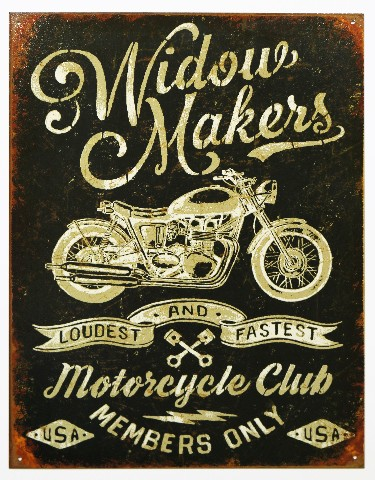 Widow Makers Motorcycle Club Tin Metal Sign Bike Biker Bar Garage B44
