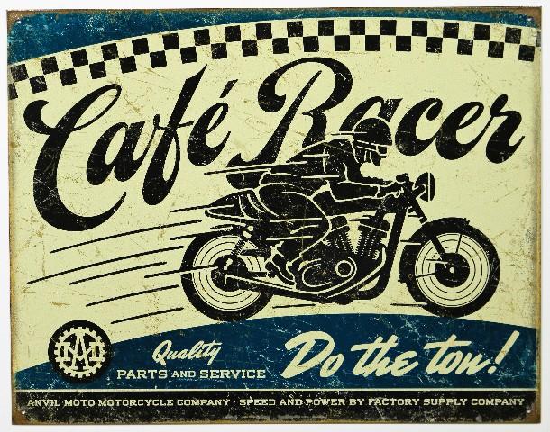 Anvil Moto Motorcycle Company Cafe Racer Tin Metal Sign Bike Garage Parts Power E13