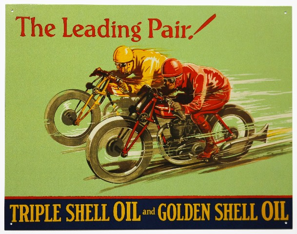 Leading Pair Triple Shell Oil and Golden Shell Oil Tin Metal Sign Motorcycle Race E17