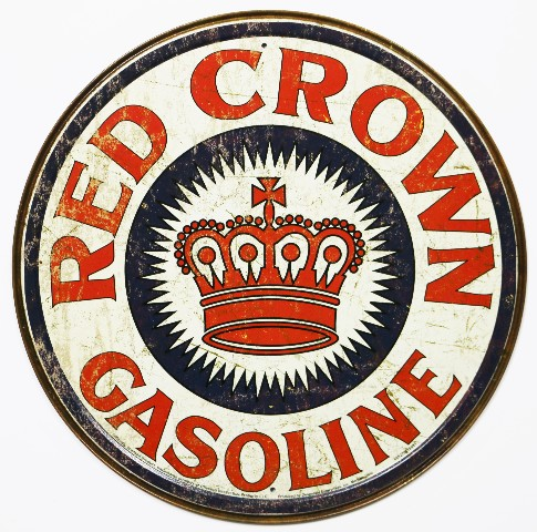 Red Crown Gasoline Round Tin Metal Signs Vintage Style Standard Oil Gas