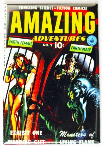 Amazing Adventures Comic Book FRIDGE MAGNET Sci Fi Space Pin Up Girl Issue 2