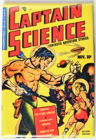 Captain Science Comic Book FRIDGE MAGNET Sci Fi Pulp Fiction Space Man Rocket