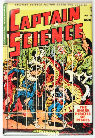 Captain Science Comic Book FRIDGE MAGNET Sci Fi Alien Snake Monsters
