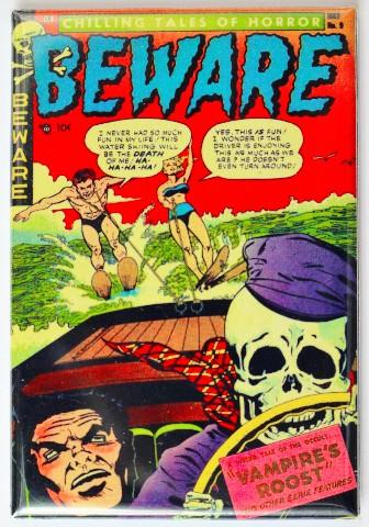 Beware Comic Book FRIDGE MAGNET Horror Pulp Skeleton Water Ski Speed Boat