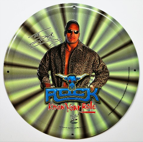 Dwayne Johnson The Rock Know Your Role Vintage Tin Metal Sign WWF WWE Wrestling 1990s 90s