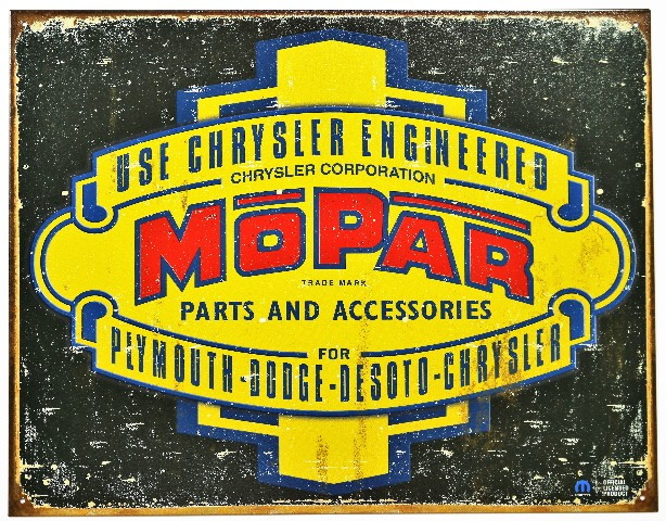 Chrysler Engineered Mopar Tin Metal Sign Plymouth Dodge Jeep Desoto B84