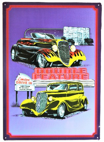 Double Feature Drive In Metal Sign Hot Rod Classic Car Show Dodge Ford Chevy Movies