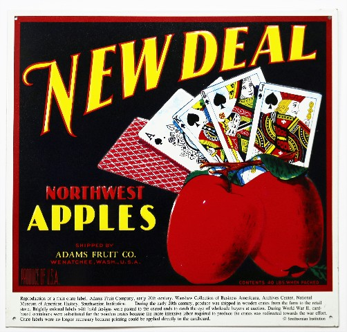 New Deal Northwest Apples Tin Metal Sign Vintage AD Country Farm Decor B86