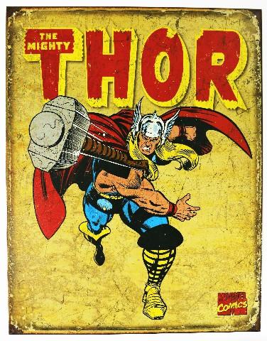 The Mighty Thor Tin Metal Sign Marvel Comics Avengers Iron Man Superhero D44