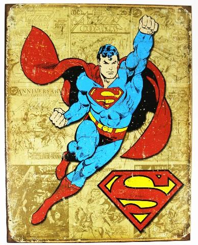 Vintage Style Superman Tin Metal Sign DC Comics Comic Book Hero Throwback D20