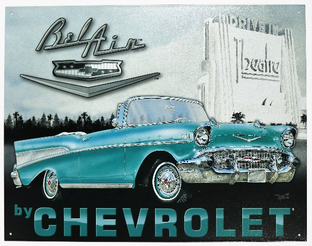 Chevrolet Bel Air Mind Tin Metal Sign 1957 Chevy Bel Air 57 F30