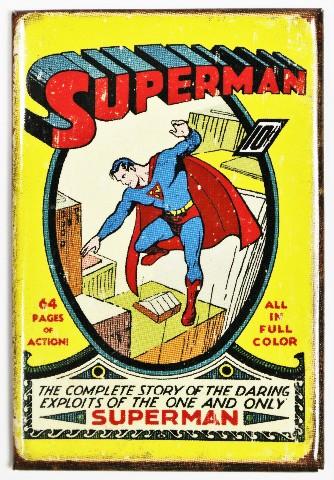 Superman FRIDGE MAGNET Vintage Style Comic Book DC Comics Origins  M6