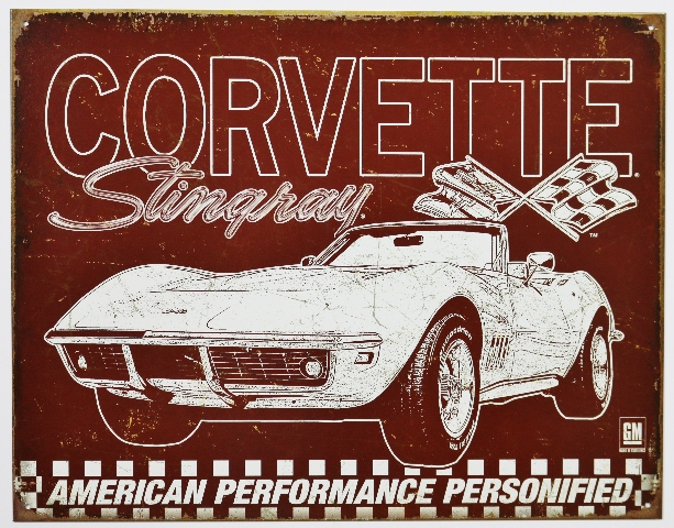 Chevrolet Corvette Stingray Tin Metal Sign Sports Chevy 327 454 350 Sports Car