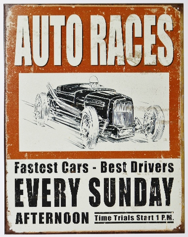 Auto Races Every Sunday Afternoon Tin Metal Sign Rat Hot Rod Drag Racing D84