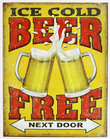 Ice Cold Beer Free Next Door Tin Metal Sign Bar Garage Funny Humor Pub D88