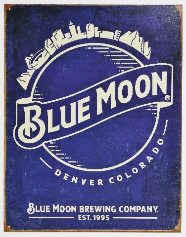 Blue Moon Brewing Company Denver Colorado Tin Metal Sign Bar Beer E135