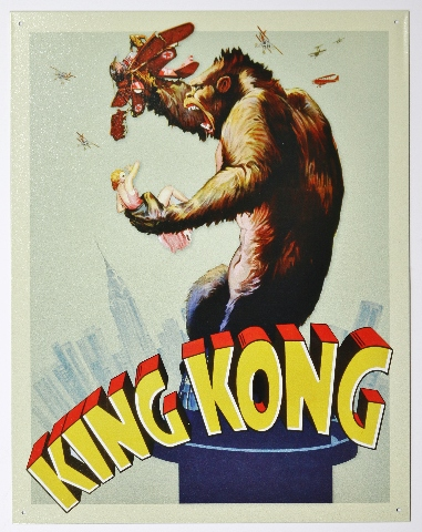 1933 King Kong Movie Poster Tin Metal Sign Skull Island Monster Film F23