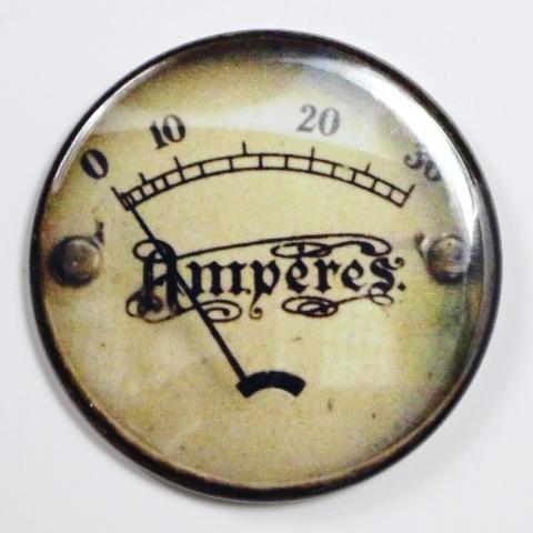 """Amperes Steampunk Gauge FRIDGE MAGNET Vintage Style 2 1/4"""" Rnd"""