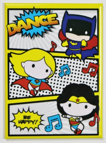 Chibi Wonder Woman Supergirl Batgirl Dance FRIDGE MAGNET DC Comics Batman J12