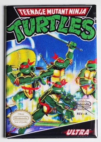 Nintendo Teenage Mutant Ninja Turtles TMNT FRIDGE MAGNET Video Game Box Classic NES
