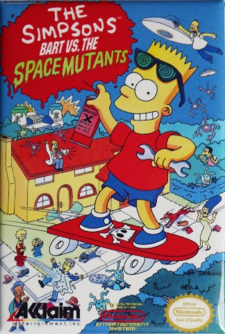 Nintendo The Simpsons Bart Vs The Space Mutants FRIDGE MAGNET Video Game Box Classic NES