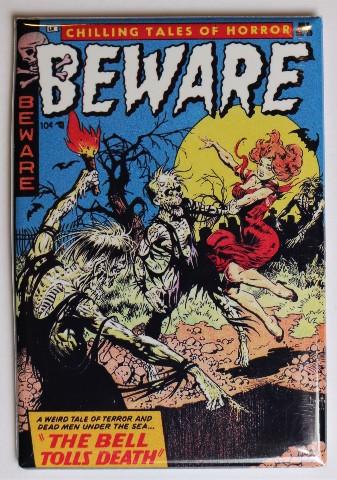 Beware Comics No 10 FRIDGE MAGNET Comic Book Zombies 50s