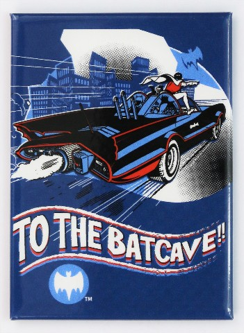 To The Batcave FRIDGE MAGNET Adam West Batman Robin Batmobile DC Comics D24