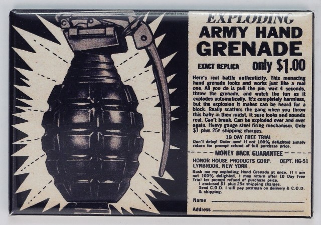 Exploding Army Hand Grenade Comic Book Ad FRIDGE MAGNET Vintage Advertisement Toy