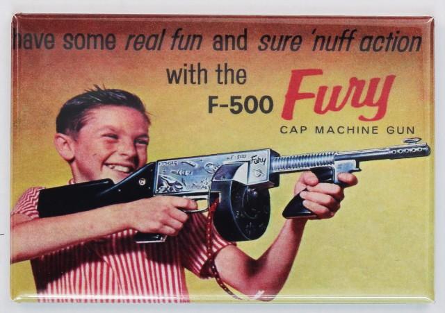 J-500 Fury Cap Machine Gun Comic Book Ad FRIDGE MAGNET Vintage Toy